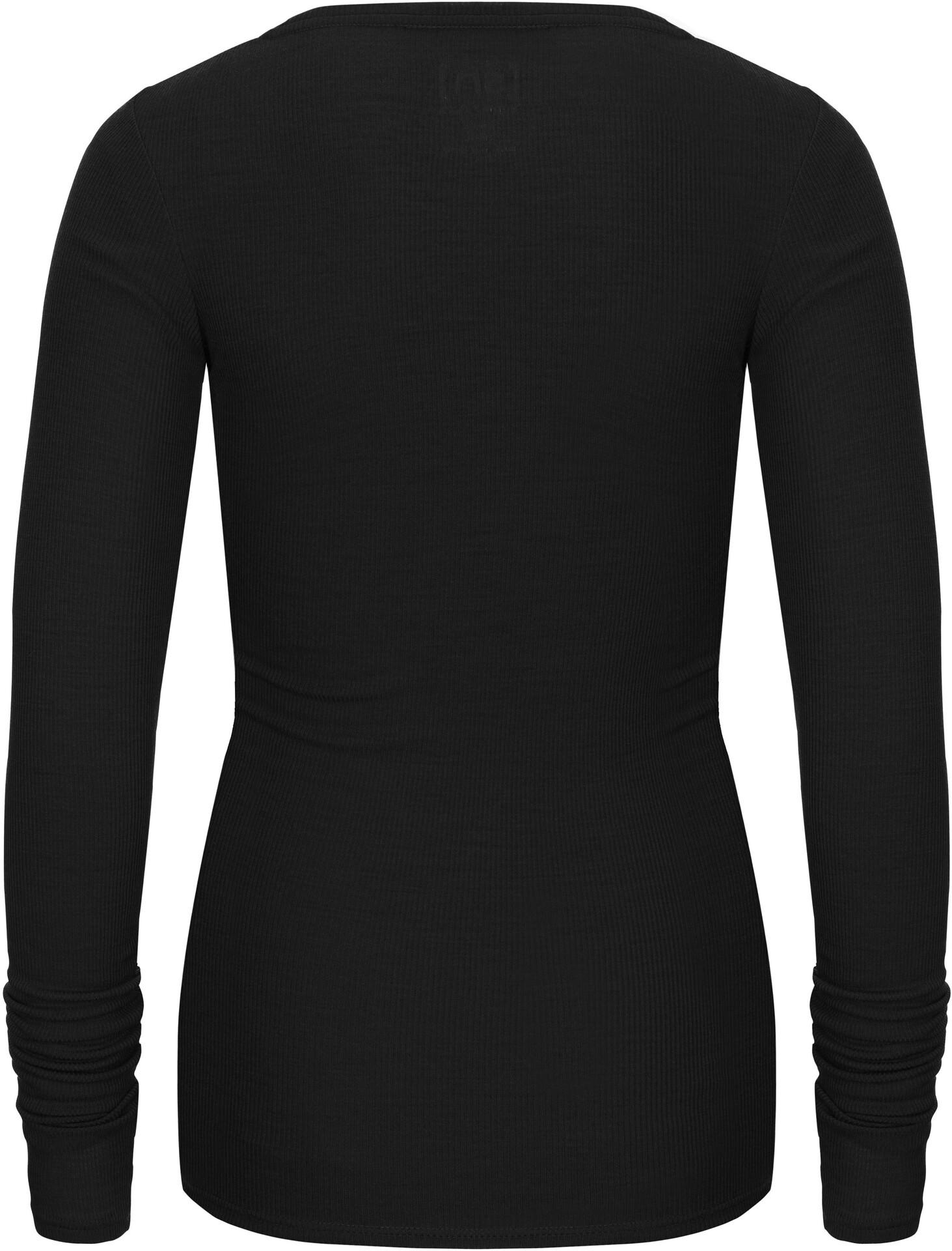 super.natural Rib Langærmet T shirt Damer, jet black